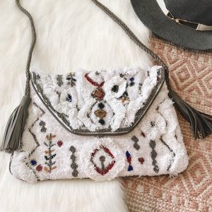 Anthropologie | Beaded Embellished Clutch Purse